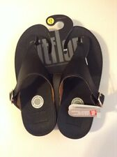 FitFlop™ The Skinny™ Deluxe Black Leather Wedge Thong Sandal NWT Sz US 6 / EU 37