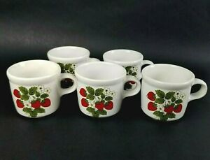 Vintage McCoy Pottery Strawberry Coffee Mugs Tea Cups #286 USA Made Set of 5 USA