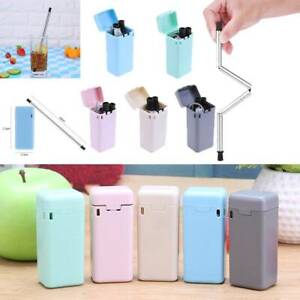 Reusable-Metal-Folding-Collapsible-Drinking-Straw-Portable-with-Cleaning-Brush