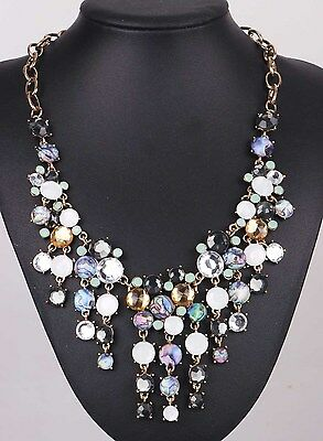 Hot Woman Glass Crystal Statement chunky ancient silver Acrylic shell Necklace