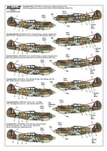 Xtradecal 1//72 X72139 Curtiss P-40B Tomahawk HAWK 81 decals RAF//USAAF