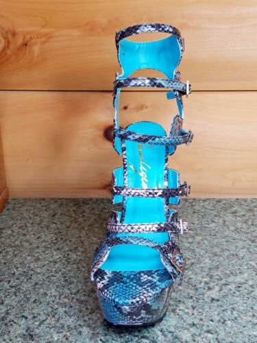 Privileged Raya Blue Snake Print Strappy Open Toe Chunky High Heel Shoe 7-10