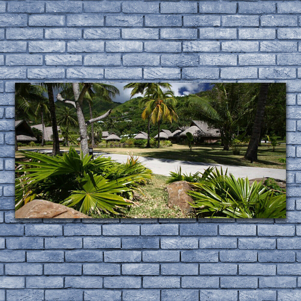Print on Glass Wall art 140x70 Picture Image Leaves Palm Trees Nature