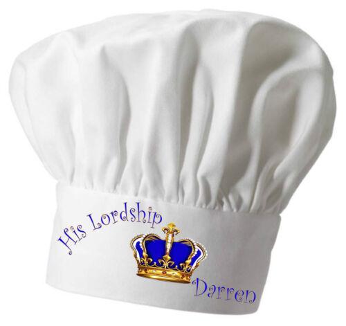 Personalizado su Señoria Delantal Y Chef/'s Hat encantadora Royal Regalo De Navidad Cook