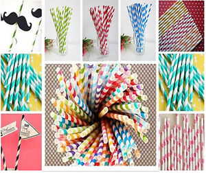 25-50-100X-Color-Striped-Paper-Drinking-Straw-Rainbow-Mixed-Wedding-Party-Home