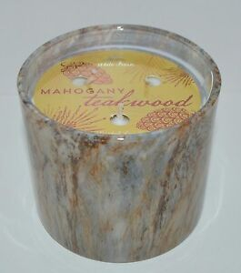 Details About Bath Body Works Mahogany Teakwood Marble Candle 13 Oz 3 Wick Large White Barn