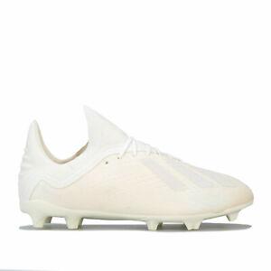 Adidas-Junior-Garcons-x-18-1-Terre-Ferme-Chaussures-De-Football-En-Blanc-Casse