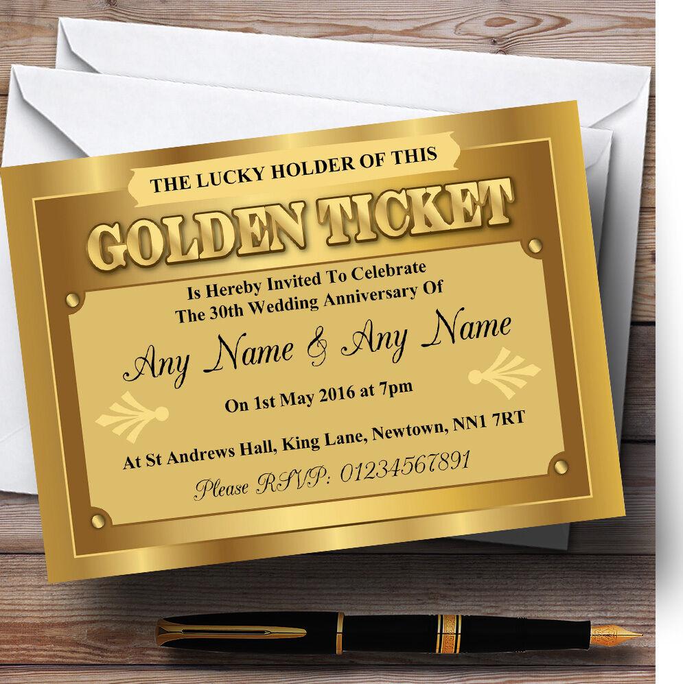 Prix double section section double Golden ticket Personnalisé Fête Anniversaire invitations 4fc27d