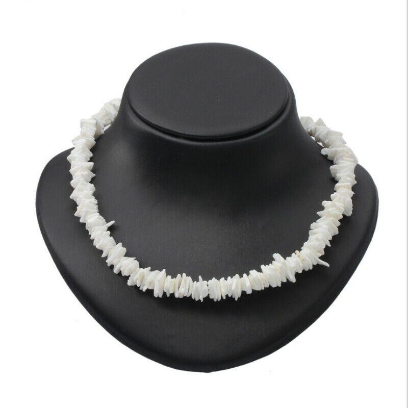 "Hawaiian 12~20/"" Round Chipped Puka Sea Shell Necklace Surfer Shell Choker White"