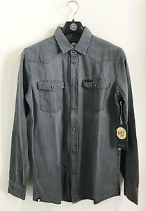 Rip-Curl-SURF-CRAFT-DENIM-SHIRT-Mens-Casual-Long-Sleeve-Size-S-Grey-Rrp-89-99