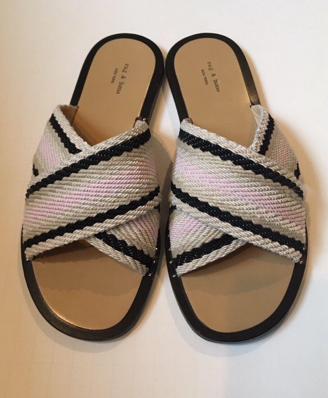 Women's Rag & Bone Keaton Crisscross Flat Sandal In Pink Size 36.5 MSRP