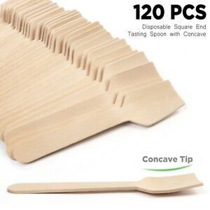 120CT Wooden Spoons Wood Soup Spoons for Eating Mixing Stirring Kitchen Utensil