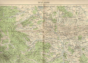 Ioannina Greece Map.1900 S Military Topographic Map Janina Ioannina Yannena Iwannina