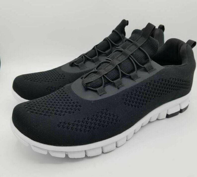 Nosox Mens Rex Slip-On Shoes Black White Memory Foam Low Top Mesh 12 New