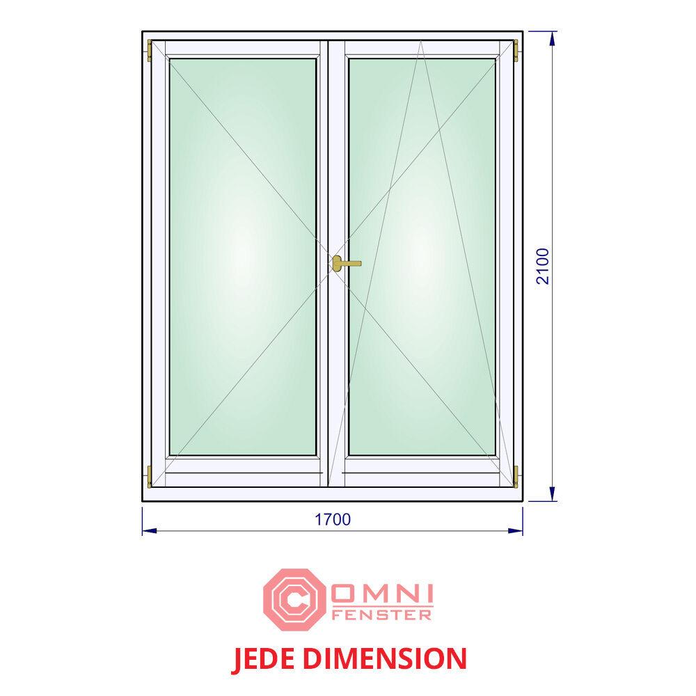 Holzfenster 2-flüg Holz 170 x 210cm Fenster Kiefer MODERNER LOOK