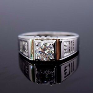 Charm 18K White Gold Filled Rings 8MM Band GF CZ Men Wedding Jewelry Size pick