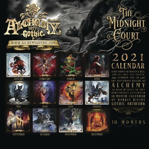 Alchemy Gothic 2021 Wandkalender 12 Monate Fantasy Art Fairy Drache Einhorn Neu
