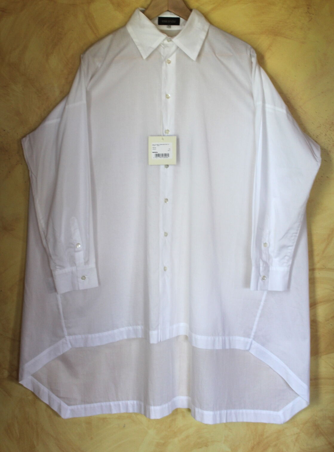 NWT Eskandar - Sz 0- Sculptural Hi-Low Flowing Cotton Poplin Tunic Hemd oben