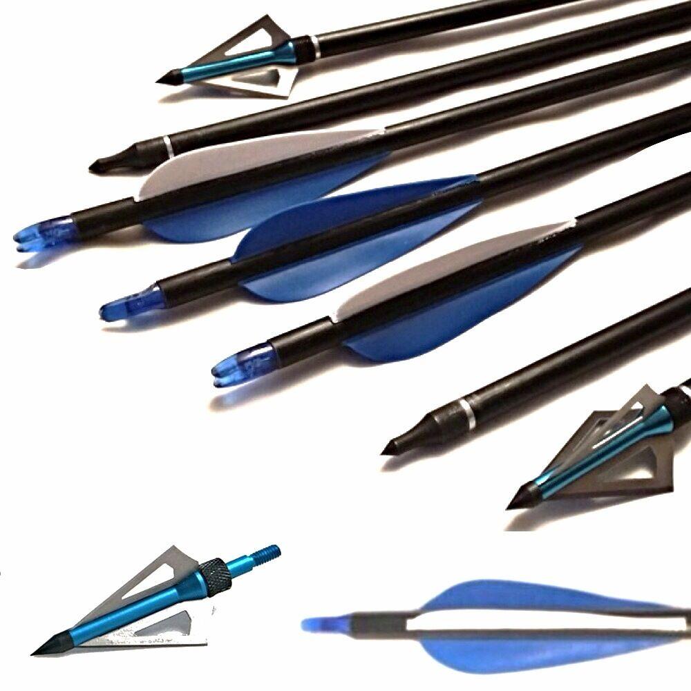 12 Archery  Arrow on off & 6 Broadheads For Field & Target,