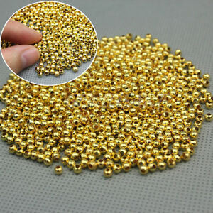 1000Pc-3MM-Gold-Plated-Round-Ball-Spacer-Beads-DIY-Jewelry-Making-Findings-NEW
