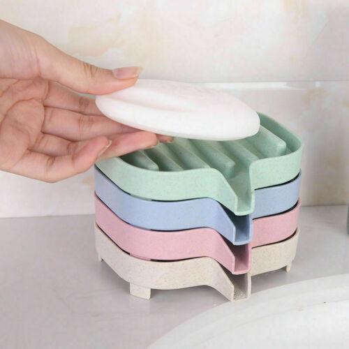 Flexible Soap Dish Plate Holder Tray Soap Box Kitchen Bathroom Organizer New