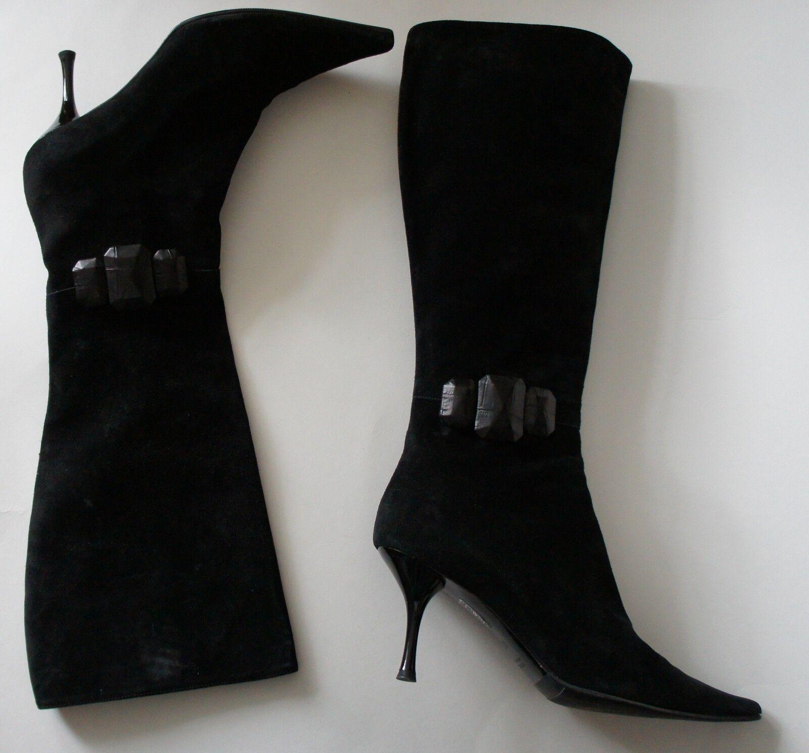 Escada Black Suede Leather Embellished Embellished Embellished Boots Sz 36.5 91f6f7