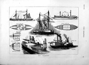 Old-Antique-Print-1877-Deck-Plans-H-M-S-Inflexible-Ship-War-Battery-Stern-19th