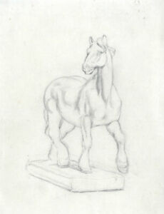 Joseph Clark - Late 19th Century Graphite Drawing, Horse