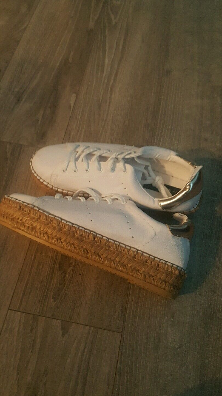 Steve Madden Hampton blanc Canvas Platform Lace Up Fashion baskets Taille 11