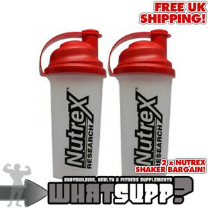 2 x NUTREX SHAKER BOTTLE - CLEAR WITH RED LID (700ML) | Bodybuilding Gym Protein