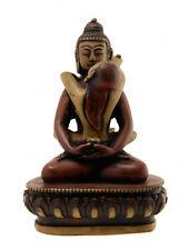 Statue de Bouddha Samantabhadra en resine bordeaux et creme  12 cm - 3113
