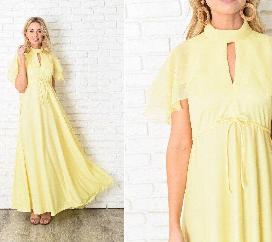 Vintage 70s Yellow Boho Dress Cape Tiered Sleeve Maxi A Line Mod Medium M