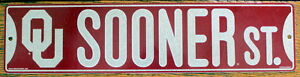 Street-Sign-Sooners-ST-NCAA-Lic-colorful-picture-Oklahoma-University