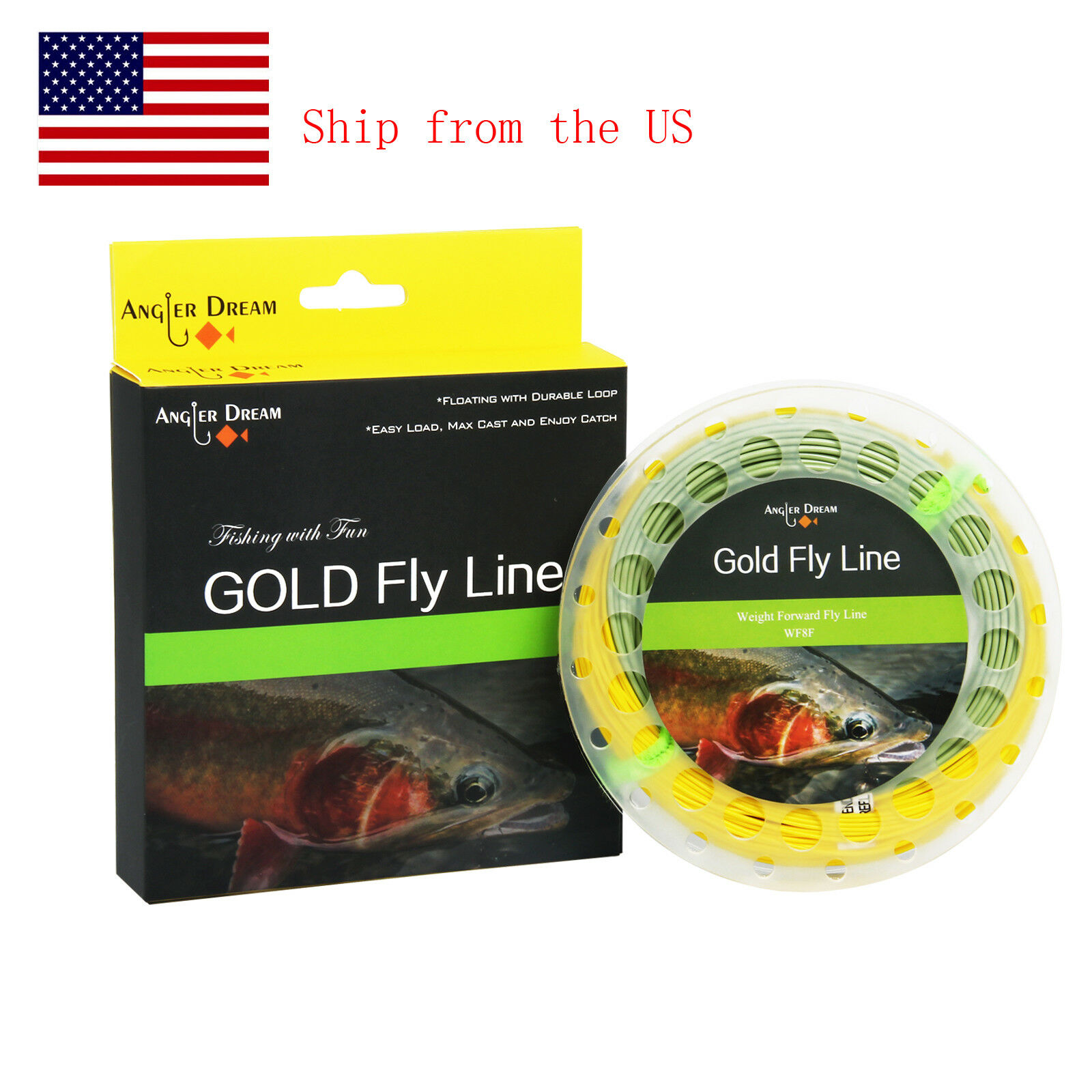 Fly Line Kit WF2//3//4//5//6//7F Teal Floating Line//Orange Backing//Leaders//Loops