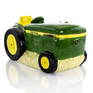 John Deere 10.5 Inch Tractor Cookie Jar Green Yellow Stoneware New in Box