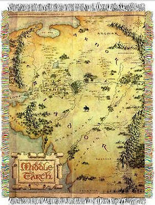 LORD OF THE RINGS HOBBIT MADE IN USA MIDDLE EARTH WOVEN TAPESTRY THROW BLANKET
