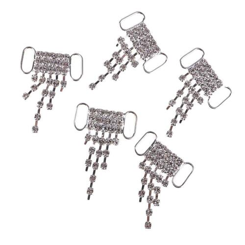 5 Pcs Rhinestone Bikini Connectors Buckle Metal Chain Buttons for Swimwear