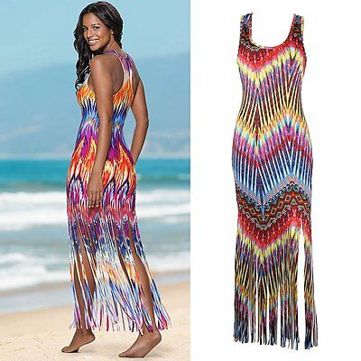 Sexy Women Summer Boho Long Maxi Evening Party Dress Beach Dresses Tassel Dress