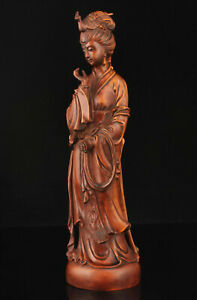 Collectable-China-Antique-Boxwood-Carving-Classical-Belle-Statue-Home-Decoration