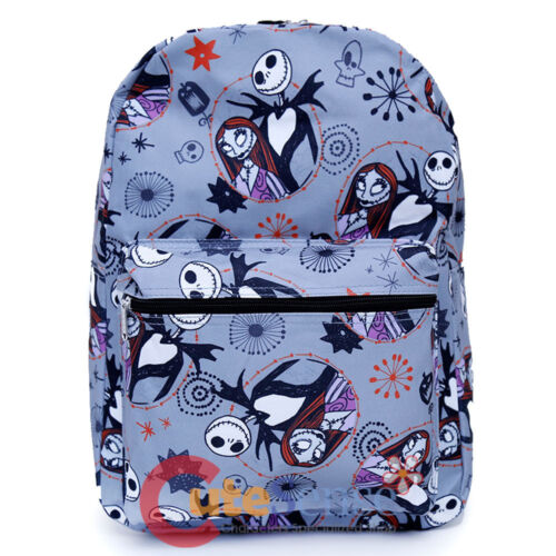 Nightmare Before Christmas Backpack NBC Jack Sally All Over Printed Bag Grey