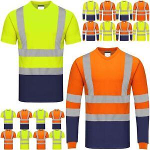 Hola-Vis-Viz-Camiseta-Alta-Visibilidad-De-Seguridad-De-Seguridad-trabajador-de-cinta-reflectante