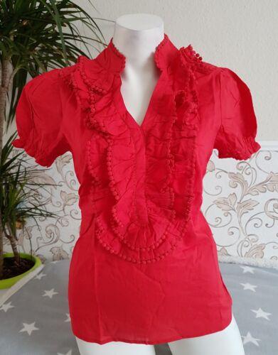 Aniston Bluse mit Rüschen Volant Puffärmel Baumwolle Hemd Shirt Rot S M 34-38