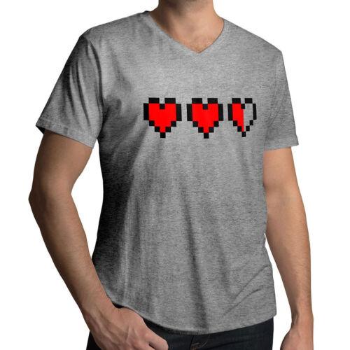 Red Heart Love Life Shirt Mens Women Unisex V-Neck T-Shirt