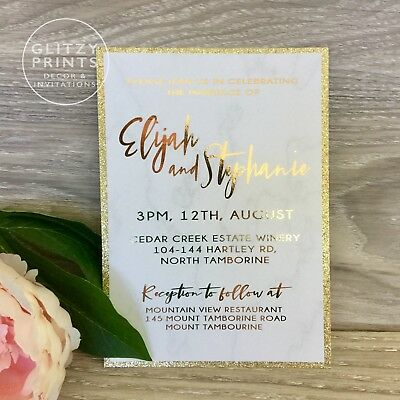 Foil Wedding Invitations.Gold Foil Wedding Invitation Marble Foil Invitation Rose Gold Invitations Ebay