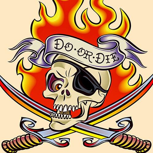 """/""""sailor jerry/"""" tattoo artist /""""faire ou mourir/"""" crâne épées 16 /""""Oreiller Coussin Couverture"""