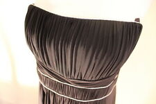 BCBG MAX AZRIA BLACK PETITE PLEAT SILVER PIPE MAXI STRAPLESS DRESS SZL NWT $268