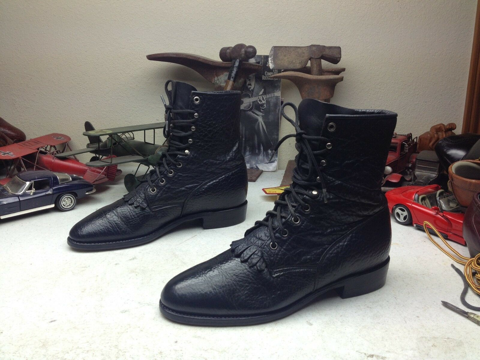 USA JUSTIN schwarz BULL LEATHER LACE UP KILTIE WESTERN WORK WORK WORK RODEO BOSS Stiefel 10 E d28adf