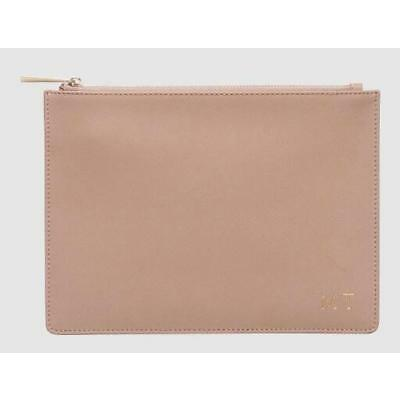 Monogrammed Personalised Nude Medium Leather Pouch & FREE Detachable Wristlet