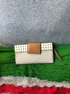 Fossil-Emma-RFID-Grey-amp-White-Multi-Coated-Canvas-Leather-Snap-Tab-Wallet-Clutch
