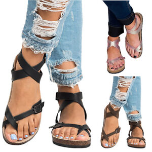 4af79f341a9a Image is loading Women-Summer-Gladiator-Shoes-Roman-Sandals-Buckle-Peep-